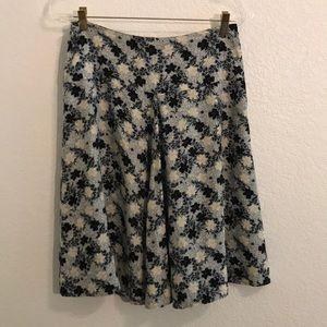 Anthropologie Tabitha A linen silk floral skirt